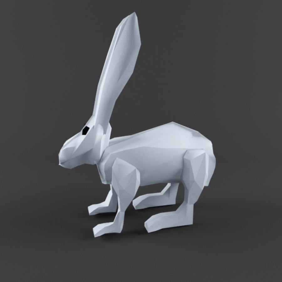 Low Poly Rabbit Game asset royalty-free 3d model - Preview no. 2