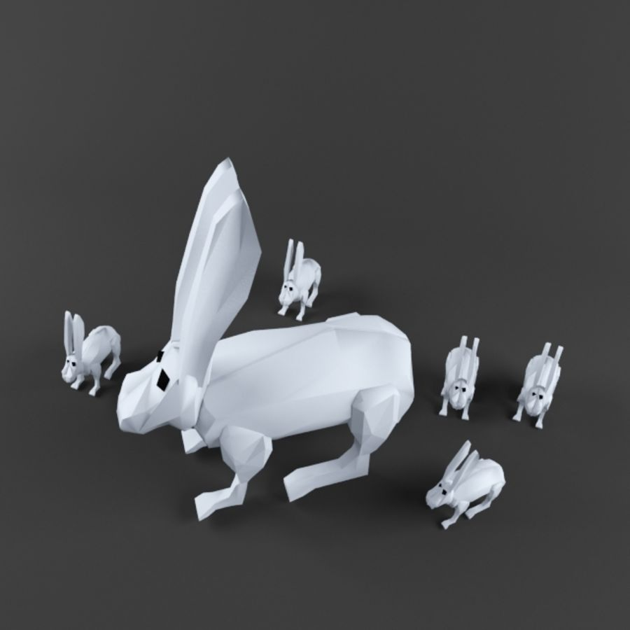 Low Poly Rabbit Game asset royalty-free 3d model - Preview no. 3