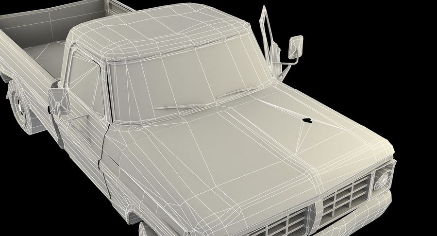 Rusty pick-up lowpoly royalty-free 3d model - Preview no. 13