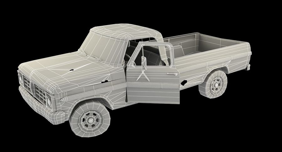 Rusty pick-up lowpoly royalty-free 3d model - Preview no. 3