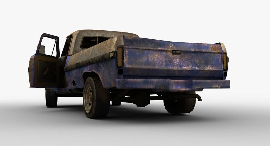 Rusty pick-up lowpoly royalty-free 3d model - Preview no. 7