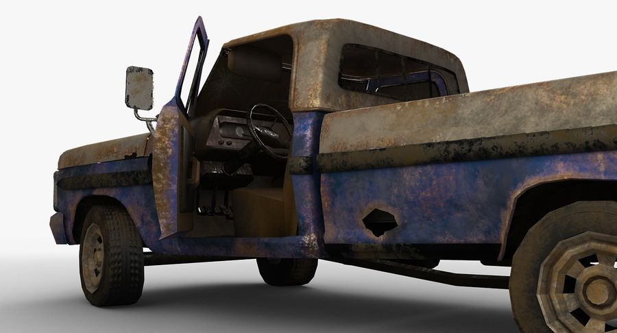 Rusty pick-up lowpoly royalty-free 3d model - Preview no. 6