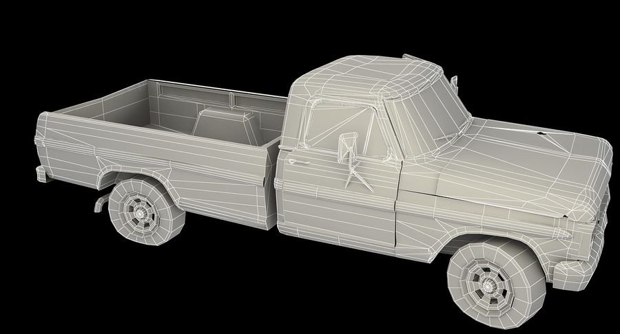 Rusty pick-up lowpoly royalty-free 3d model - Preview no. 11