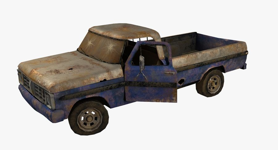 Rusty pick-up lowpoly royalty-free 3d model - Preview no. 1