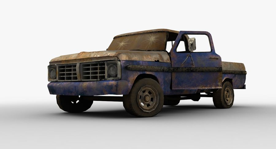 Rusty pick-up lowpoly royalty-free 3d model - Preview no. 4