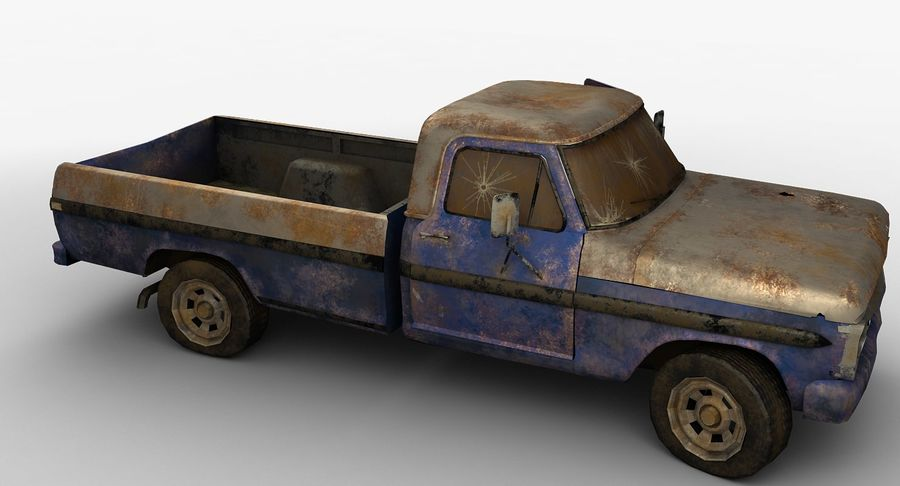 Rusty pick-up lowpoly royalty-free 3d model - Preview no. 10