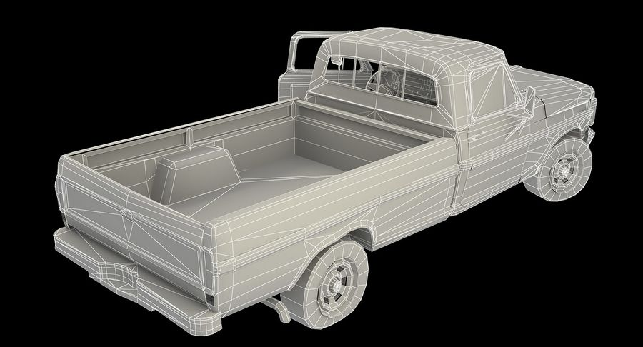 Rusty pick-up lowpoly royalty-free 3d model - Preview no. 9