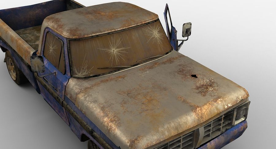 Rusty pick-up lowpoly royalty-free 3d model - Preview no. 12