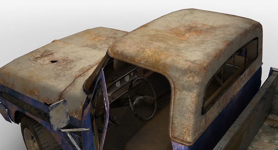 Rusty pick-up lowpoly royalty-free 3d model - Preview no. 5