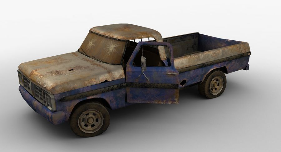 Rusty pick-up lowpoly royalty-free 3d model - Preview no. 2