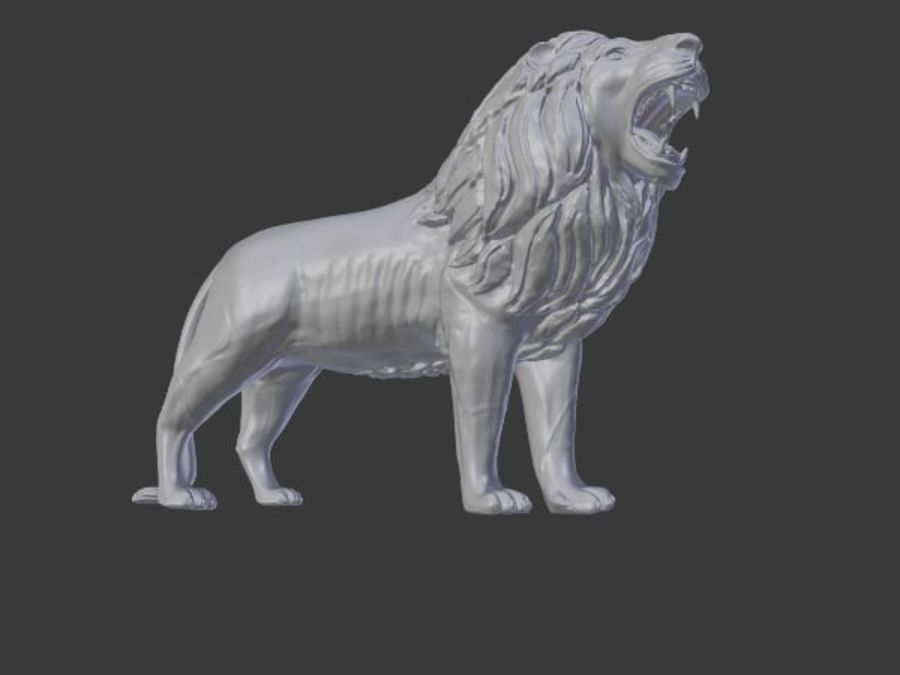 Lion Statue royalty-free 3d model - Preview no. 2