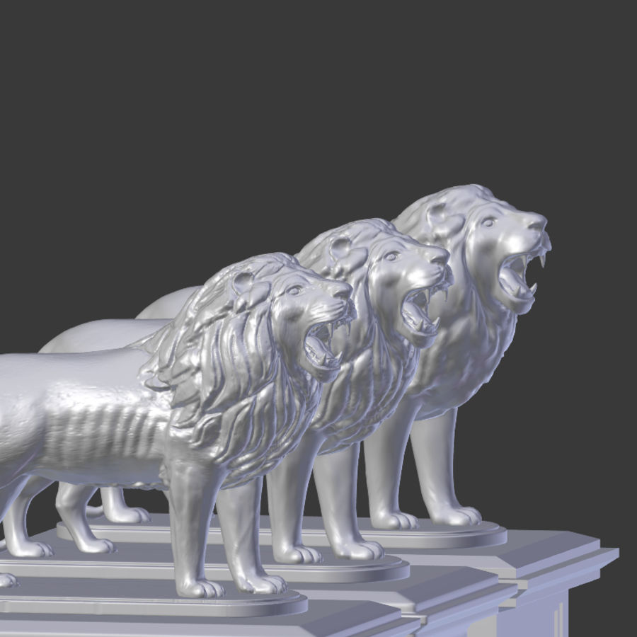 Lion Statue royalty-free 3d model - Preview no. 12