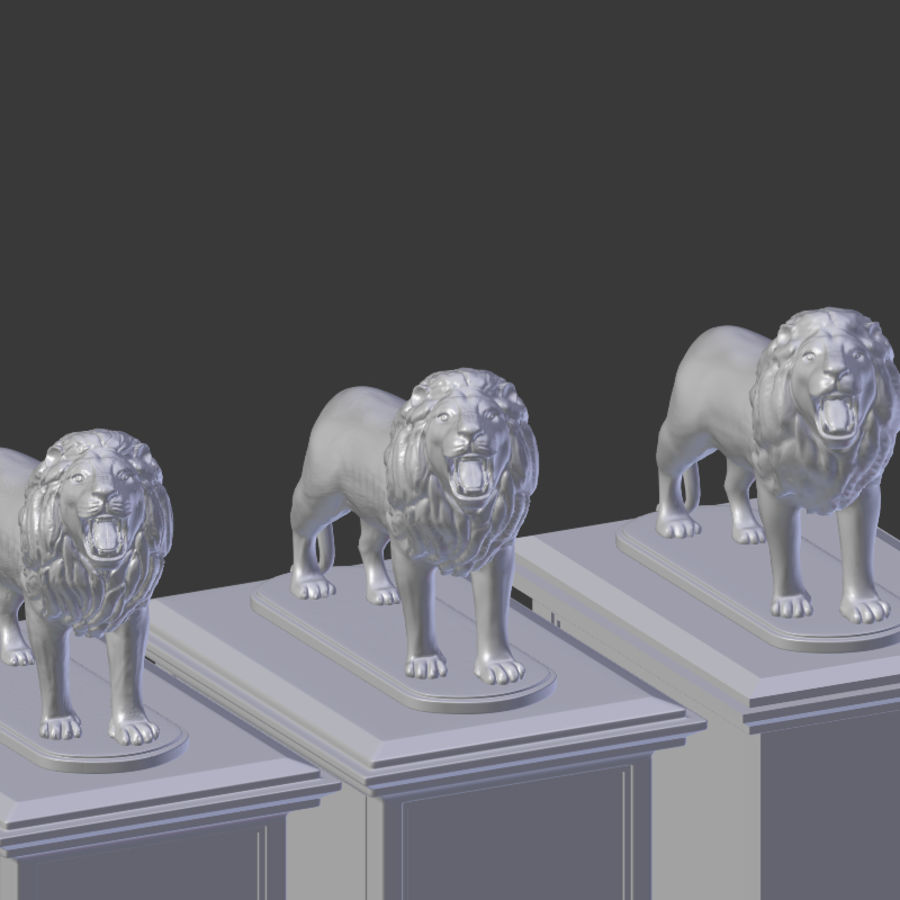 Lion Statue royalty-free 3d model - Preview no. 10