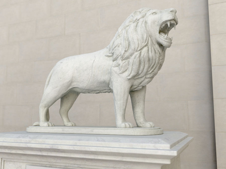 Lion Statue royalty-free 3d model - Preview no. 1