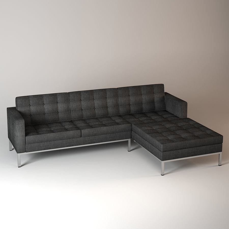 Corner Sectional Wool Sofa Royalty Free 3d Model   Preview No. 3