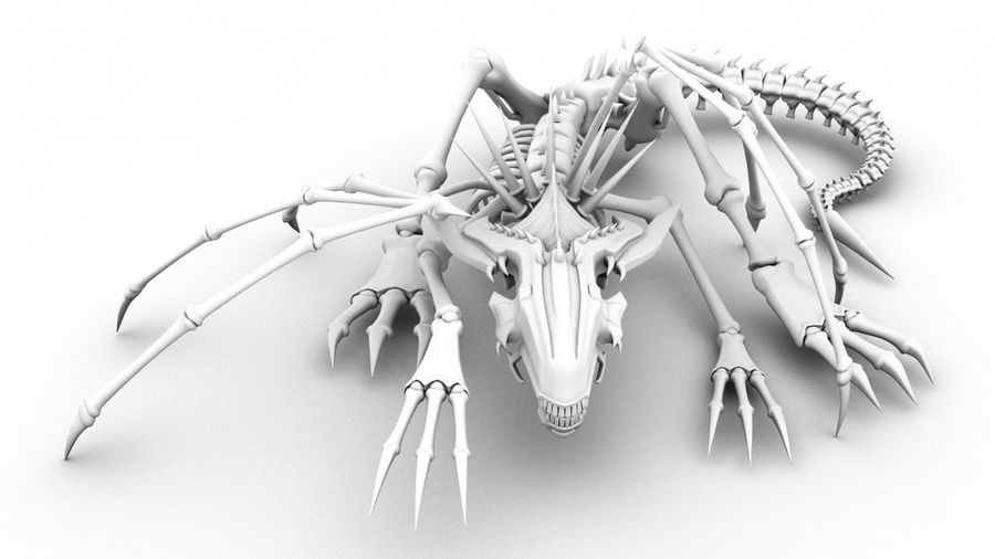 Bone Dragon Statue royalty-free 3d model - Preview no. 2