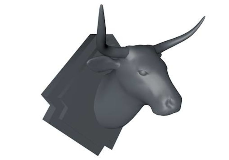 Low Poly Mounted Bull Head royalty-free 3d model - Preview no. 1