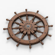 Sailing Boat Steering Wheel 3d model