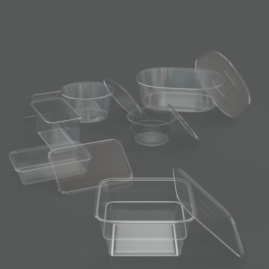 Plastic containers royalty-free 3d model - Preview no. 7