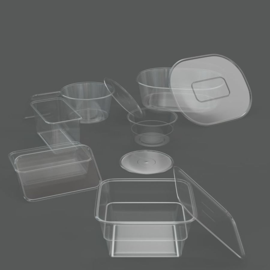 Plastic containers royalty-free 3d model - Preview no. 6