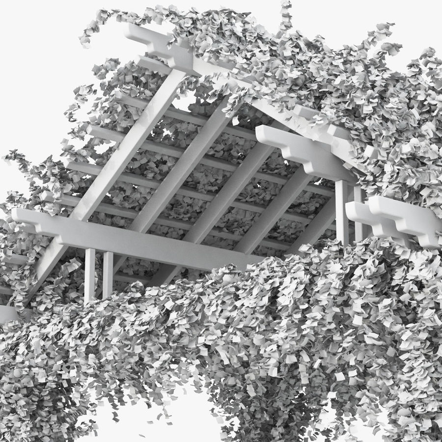 Pergola Climbing Roses With Flowers Ivy Wooden royalty-free 3d model - Preview no. 11