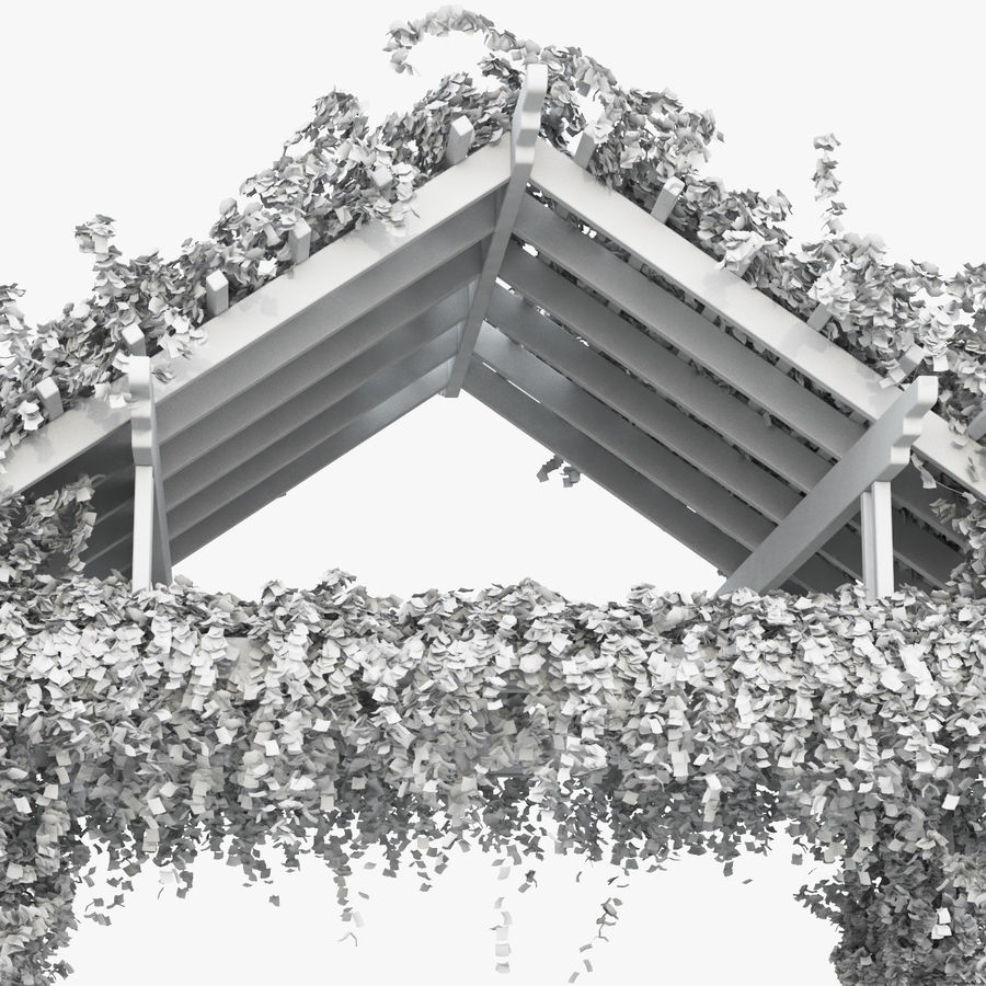 Pergola Climbing Roses With Flowers Ivy Wooden royalty-free 3d model - Preview no. 12