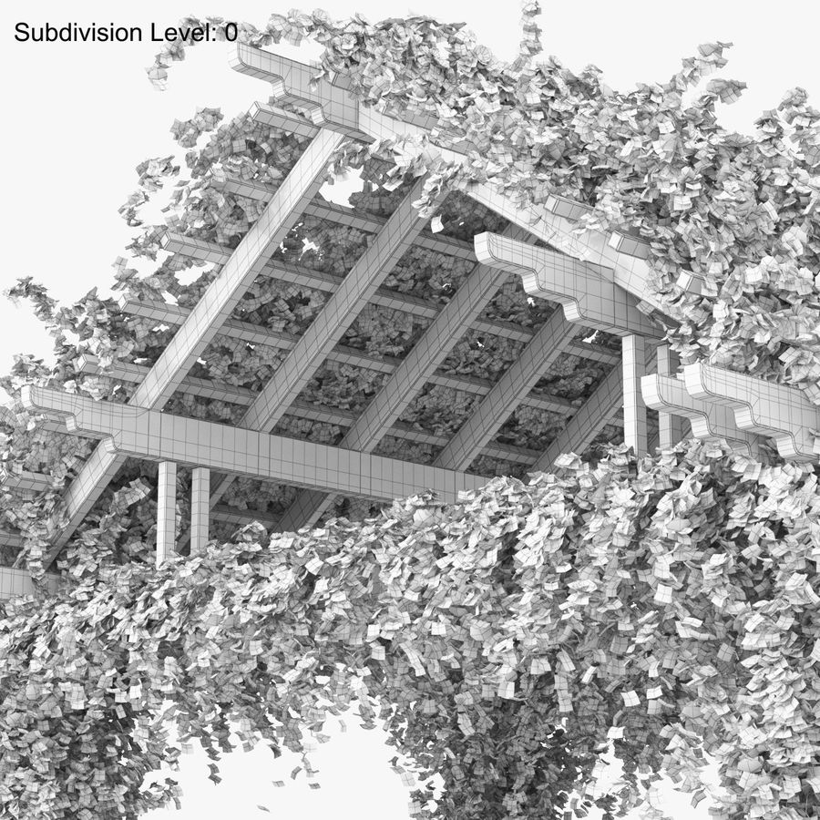 Pergola Climbing Roses With Flowers Ivy Wooden royalty-free 3d model - Preview no. 16