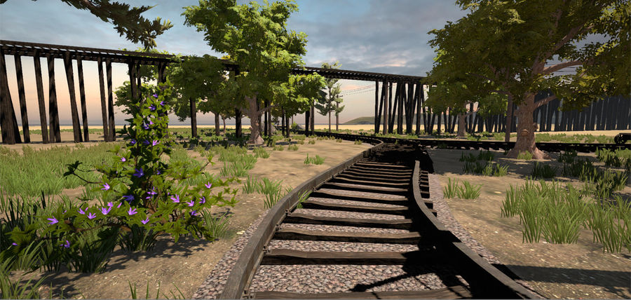 Old Railroads Tracks royalty-free 3d model - Preview no. 2