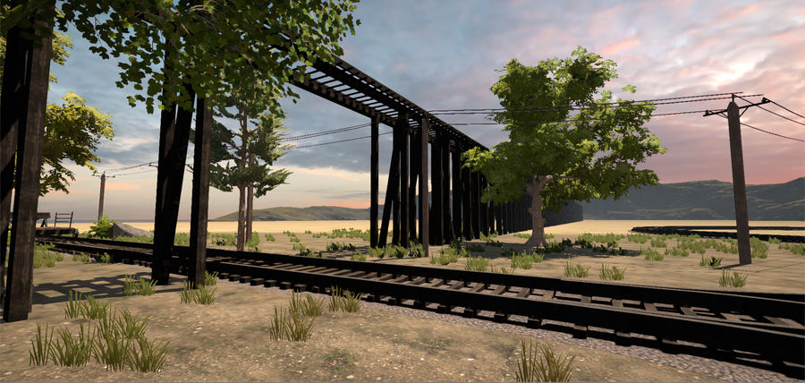 Old Railroads Tracks royalty-free 3d model - Preview no. 3