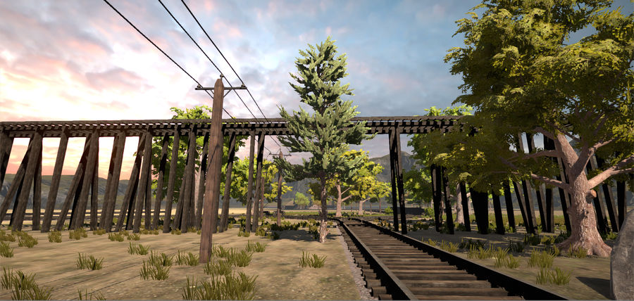 Old Railroads Tracks royalty-free 3d model - Preview no. 7