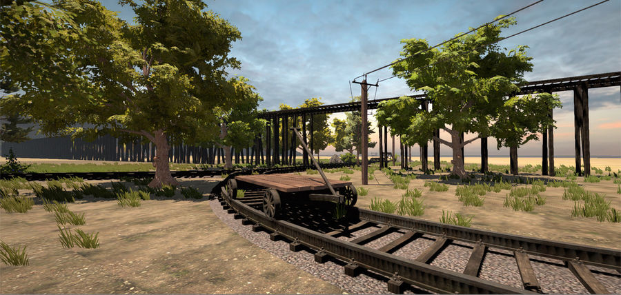 Old Railroads Tracks royalty-free 3d model - Preview no. 6