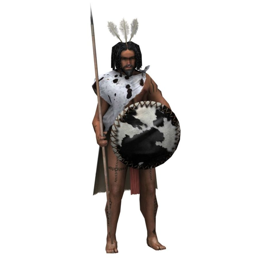 Low-poly African warrior royalty-free 3d model - Preview no. 1