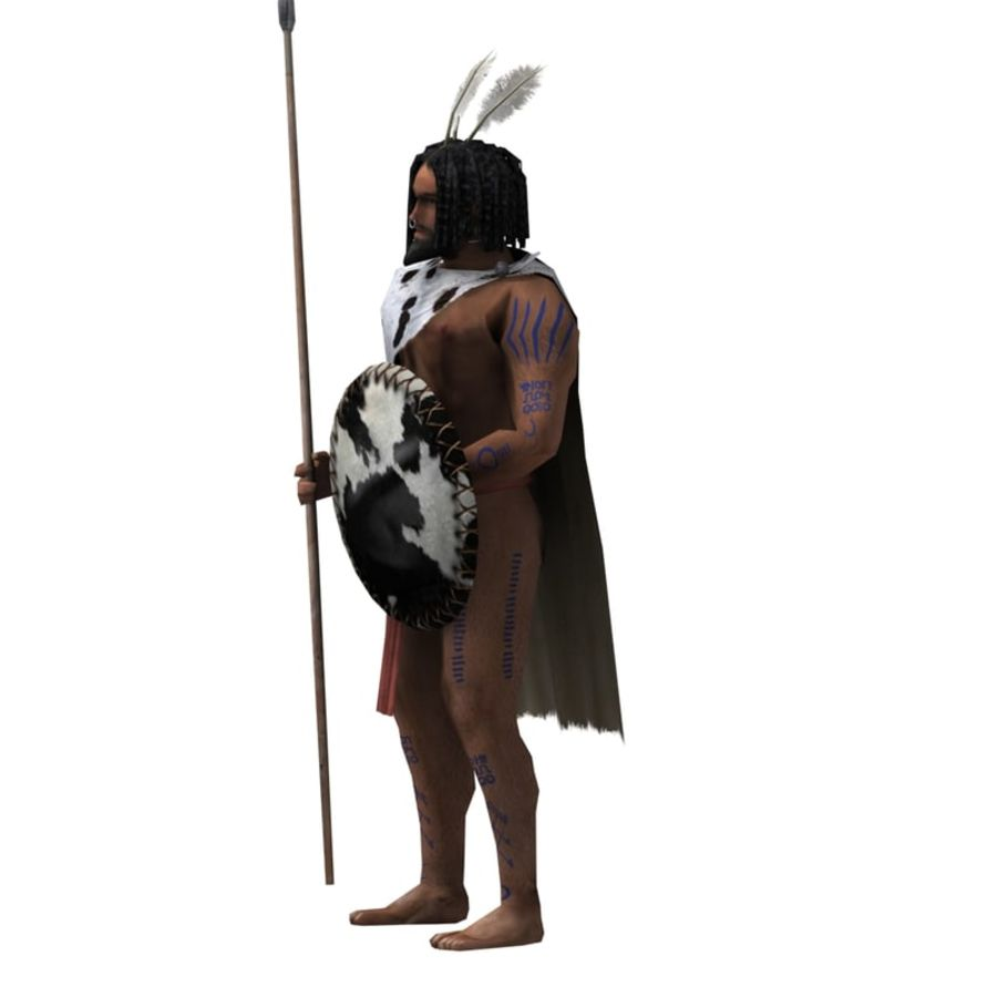 Low-poly African warrior royalty-free 3d model - Preview no. 4