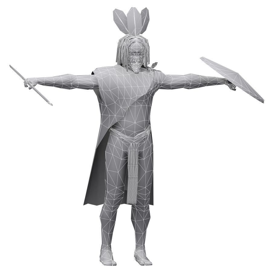 Low-poly African warrior royalty-free 3d model - Preview no. 6