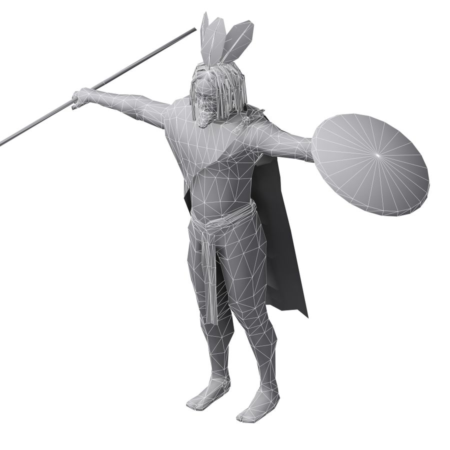 Low-poly African warrior royalty-free 3d model - Preview no. 8