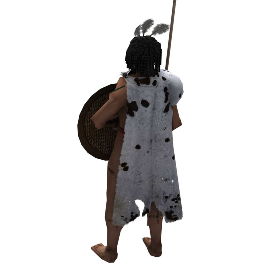 Low-poly African warrior royalty-free 3d model - Preview no. 2