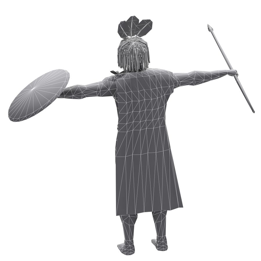 Low-poly African warrior royalty-free 3d model - Preview no. 7