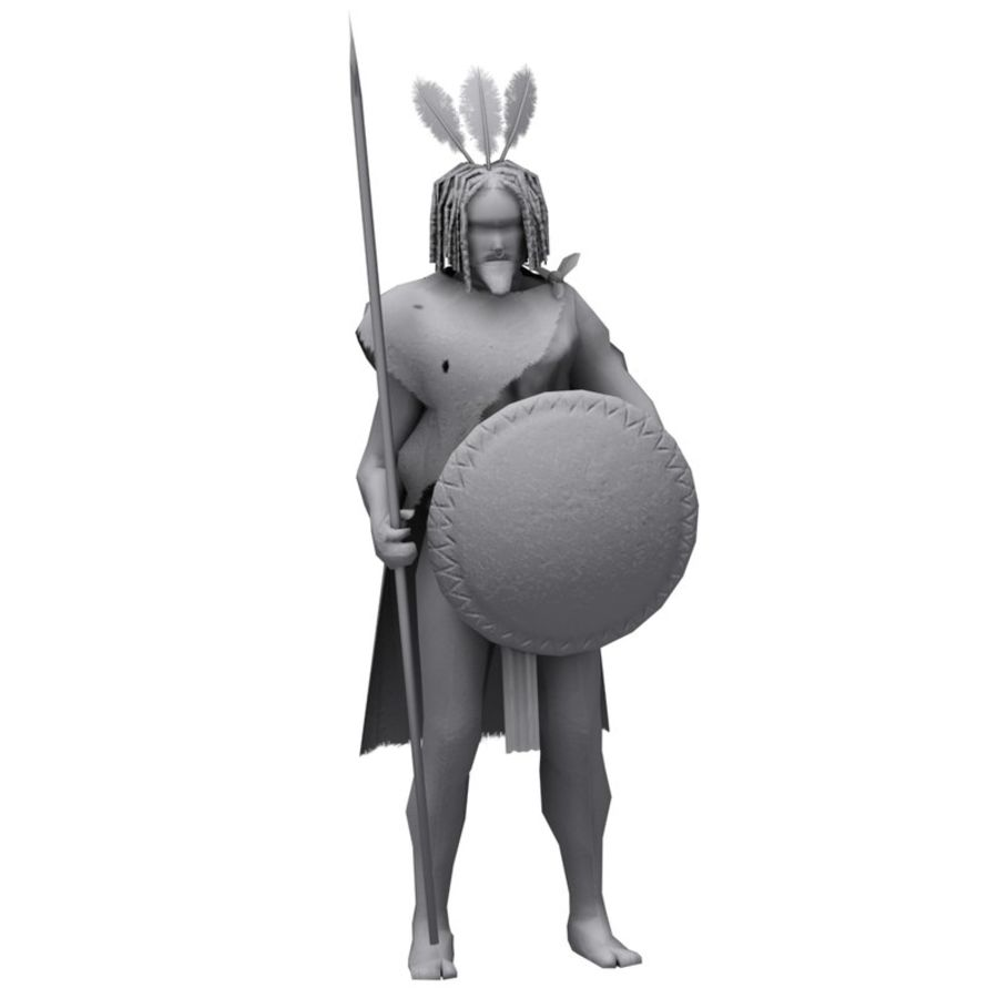 Low-poly African warrior royalty-free 3d model - Preview no. 5