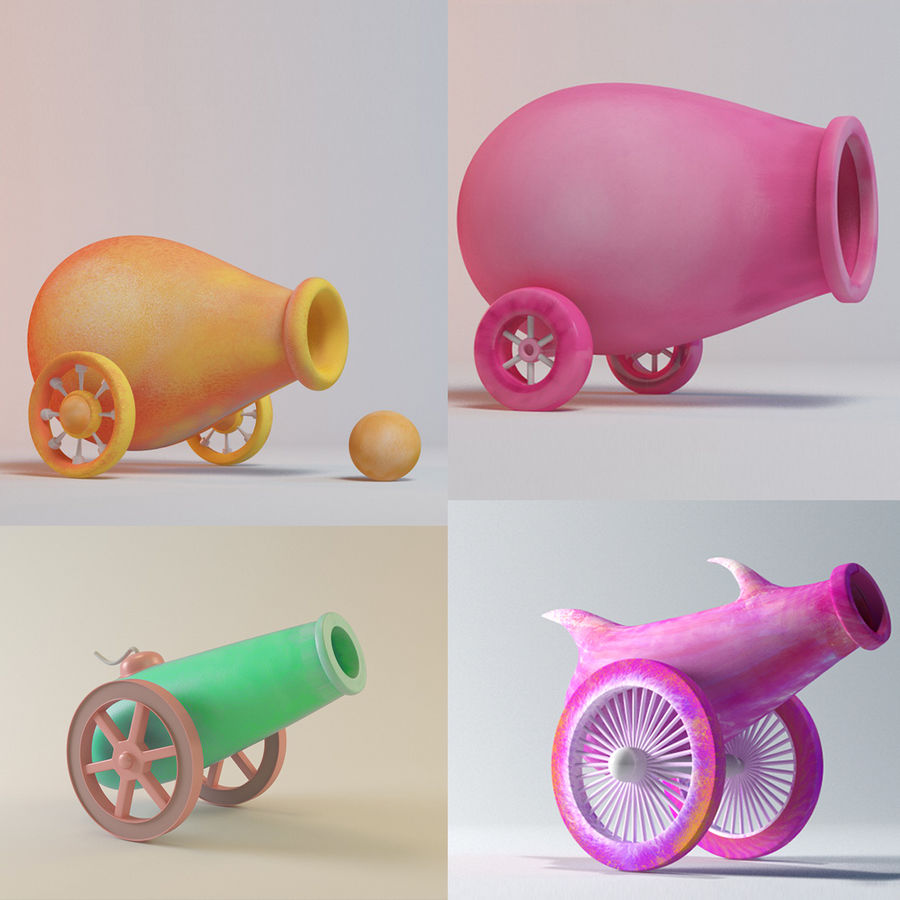 cartoon cannon 3d model $15 - .obj .oth - free3d