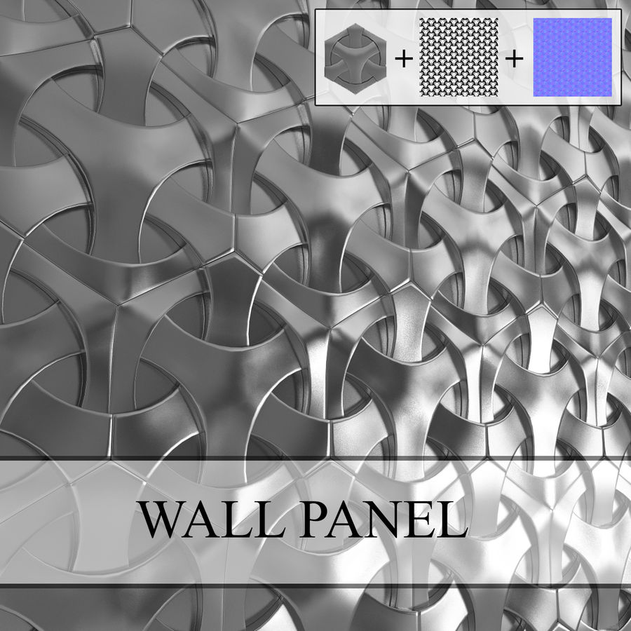 Panel ścienny 3D 4 royalty-free 3d model - Preview no. 1