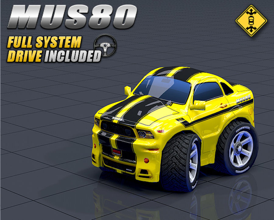 Mus80 car toon royalty-free 3d model - Preview no. 3