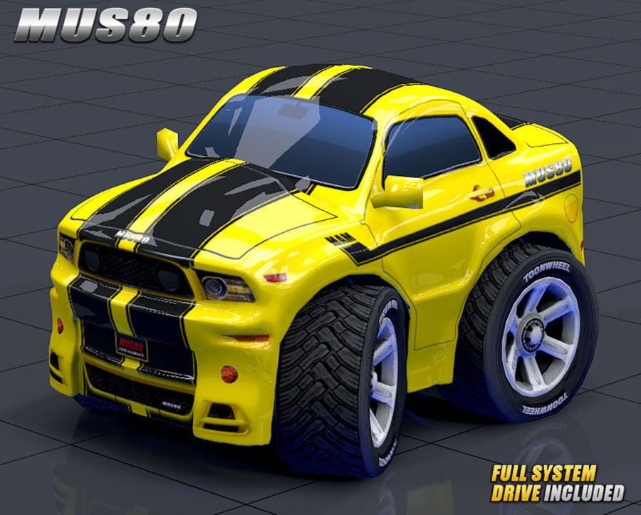 Mus80 car toon royalty-free 3d model - Preview no. 5