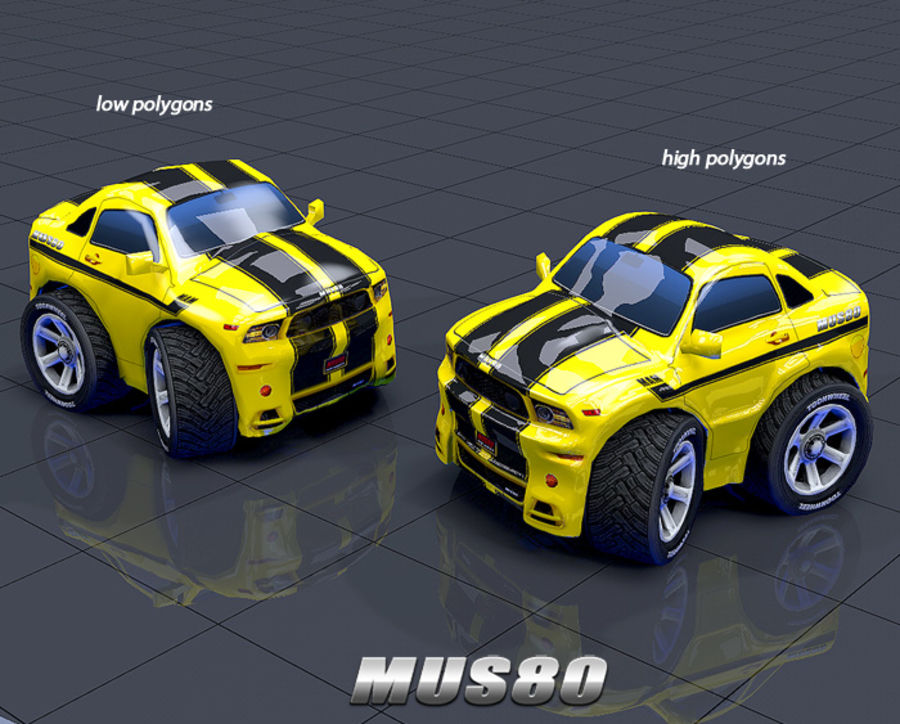 Mus80 car toon royalty-free 3d model - Preview no. 2