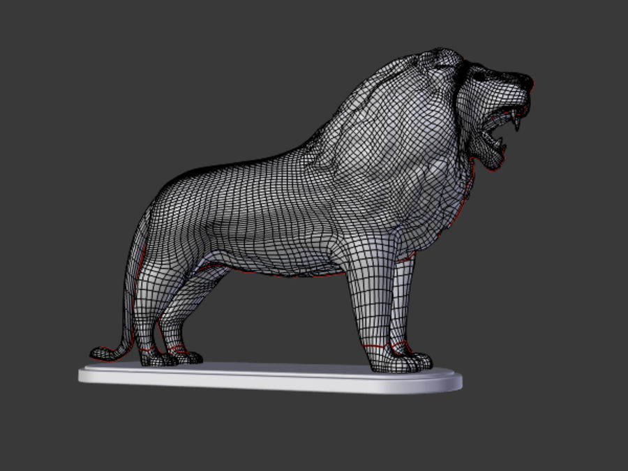 Lion Figurine royalty-free 3d model - Preview no. 8