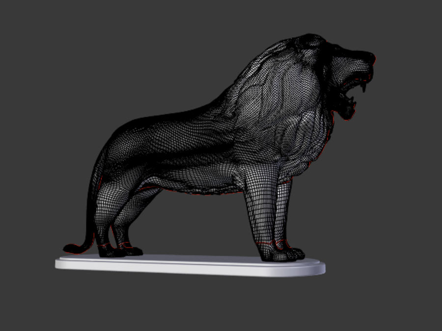 Lion Figurine royalty-free 3d model - Preview no. 9