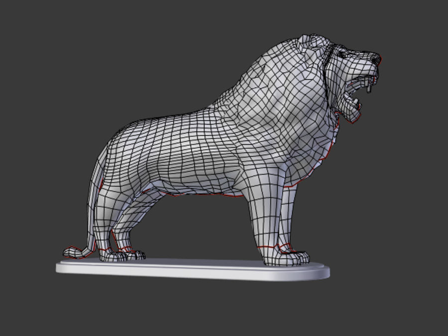 Lion Figurine royalty-free 3d model - Preview no. 7