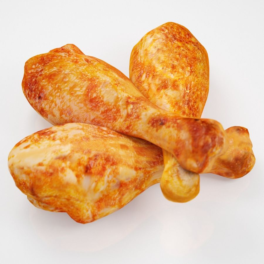 Three Chicken Legs royalty-free 3d model - Preview no. 5