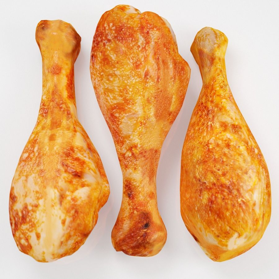 Three Chicken Legs royalty-free 3d model - Preview no. 2