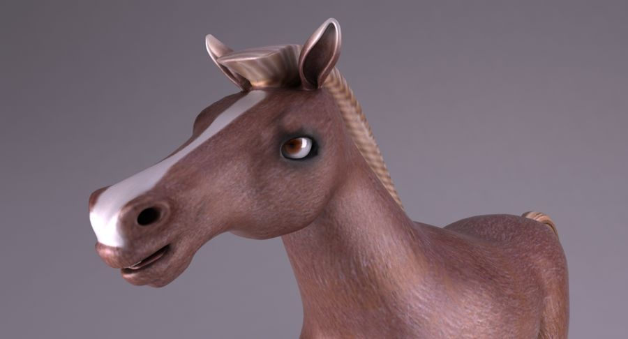 Cartoon Horse royalty-free 3d model - Preview no. 6