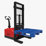 Electric Reach Walkie Stacker with Pallet 3D Model 3d model
